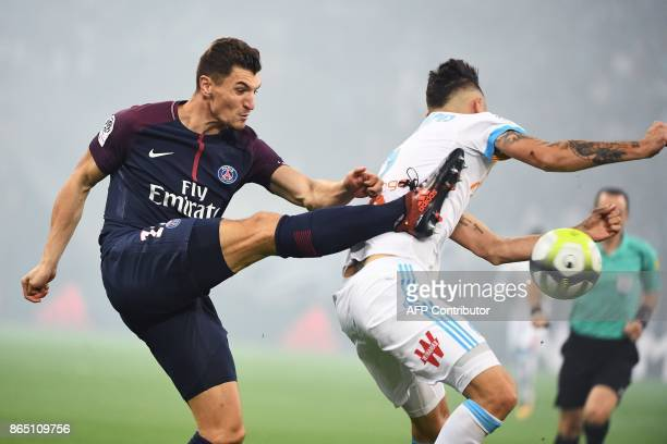 Paris SaintGermain's Belgian defender Thomas Meunier controls the ball during the French L1 football match between Marseille and Paris SaintGermain...