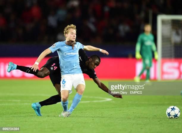 Paris SaintGermain's Blaise Matuidi and Malmo FF's Oscar Lewicki battle for the ball