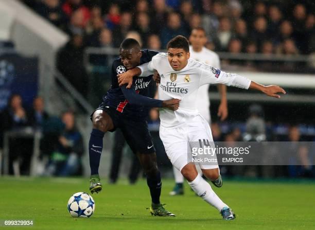Paris SaintGermain's Blaise Matuidi and Real Madrid's Casemiro battle for the ball