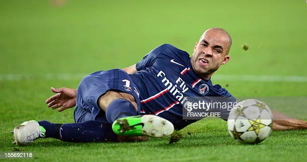 Paris SaintGermain's Brazilian defender Alex Costa controls the ball during the UEFA Champions League Group A football match Paris SaintGermain vs...