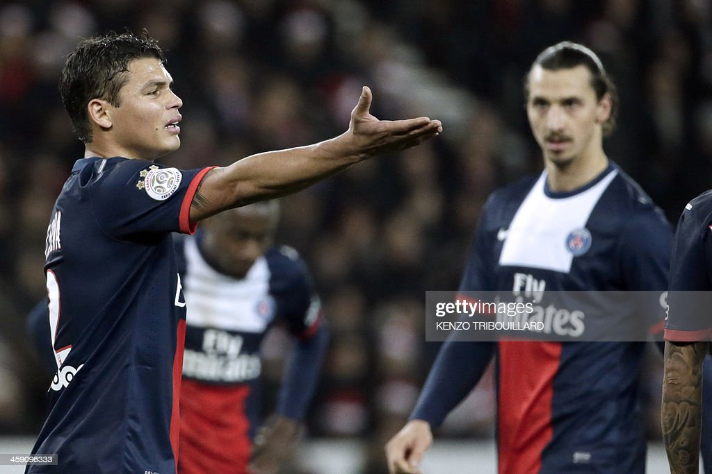 Paris Saint-Germain's Brazilian defender and captain Thiago Silva reacts during the French L1 football match between Paris Saint-Germain (PSG) and Lille (LOSC) in Paris on December 22, 2013.
