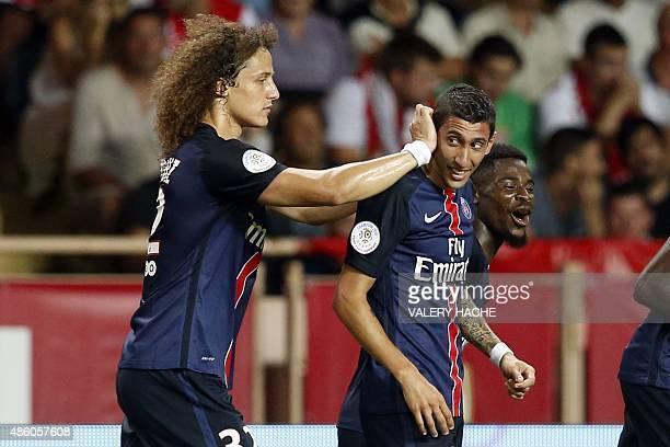 Paris SaintGermain's Brazilian defender David Luiz and Paris SaintGermain's Argentinian forward Angel Di Maria celebrate their third goal during the...