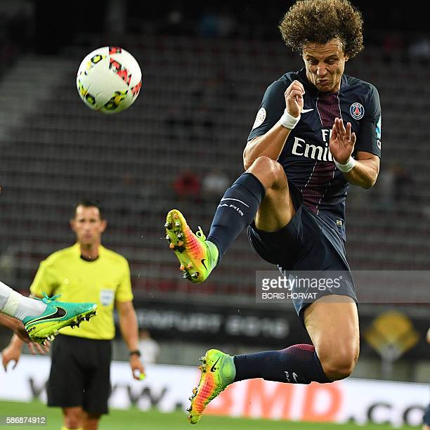 Paris SaintGermain's Brazilian defender David Luiz controls the ball during the French Supercup Champions trophy football match Paris SaintGermain vs...