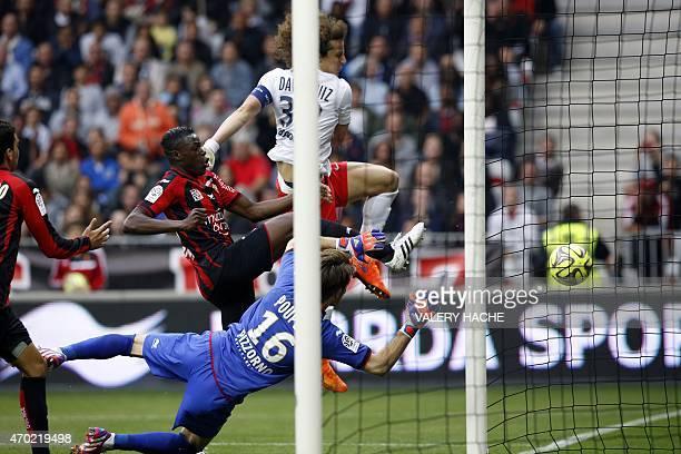 Paris SaintGermain's Brazilian defender David Luiz shoots during the French L1 football match between Nice and Paris Saint Germain on April 18 2015...