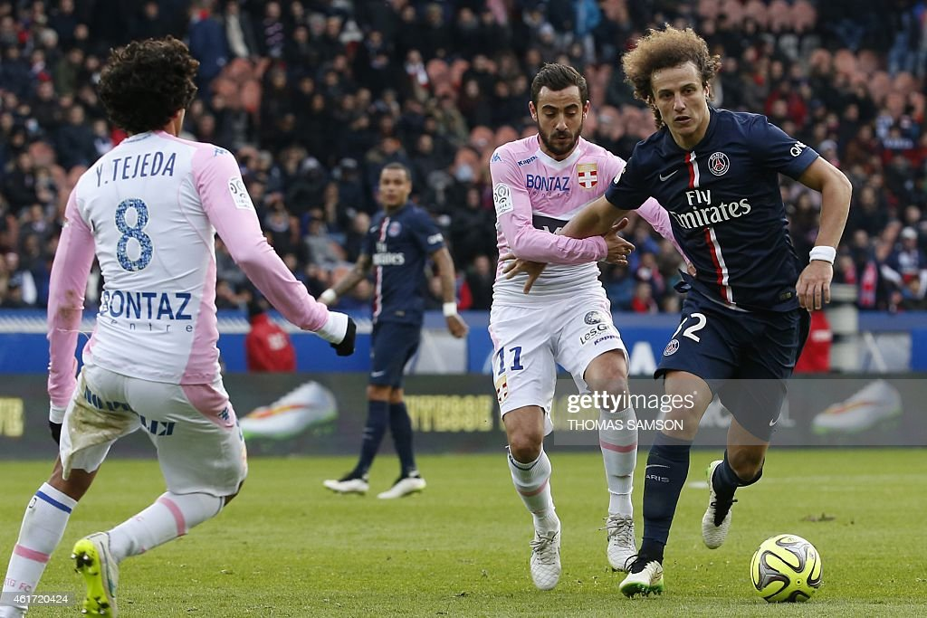 Paris Saint-Germain's Brazilian defender <a gi-track='captionPersonalityLinkClicked' href=/galleries/search?phrase=David+Luiz&family=editorial&specificpeople=4133397 ng-click='$event.stopPropagation()'>David Luiz</a> (R) vies for the ball with Evian's French midfielder <a gi-track='captionPersonalityLinkClicked' href=/galleries/search?phrase=Fabien+Camus&family=editorial&specificpeople=5702744 ng-click='$event.stopPropagation()'>Fabien Camus</a> during the French L1 football match between Paris Saint-Germain (PSG) and Evian (ETGFC) at the Parc des Princes stadium, in Paris, on January 18, 2015. AFP PHOTO / THOMAS SAMSON