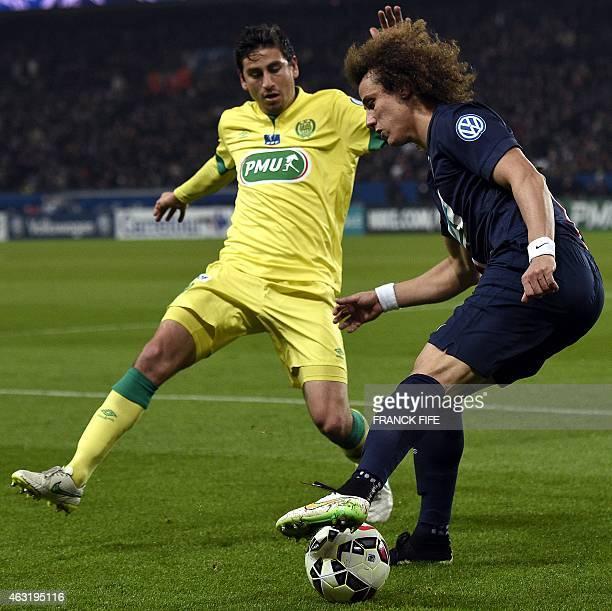 Paris SaintGermain's Brazilian defender David Luiz vies with Nantes' US midfielder Alejandro Bedoya during the French Cup football match Paris...
