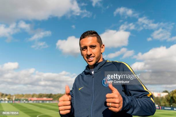 Paris SaintGermain's Brazilian defender Marcos Marquinhos poses before an interview with an AFP journalist at the Camp des loges PSG training camp in...