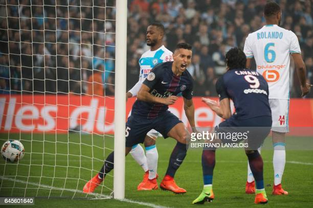 Paris SaintGermain's Brazilian defender Marquinhos celebrates after scoring a goal during the French L1 football match Olympique de Marseille vs...