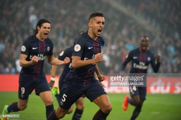 Paris SaintGermain's Brazilian defender Marquinhos celebrates after scoring a goal during the French L1 football match Olympique de Marseille vs...