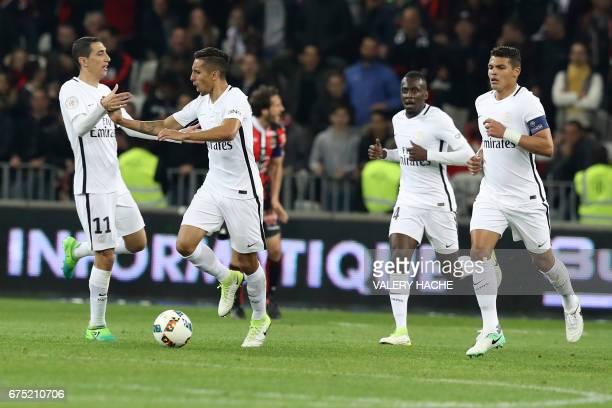 Paris SaintGermain's Brazilian defender Marquinhos celebrates after scoring a goal during the French L1 football match Nice vs Paris Saint Germain on...
