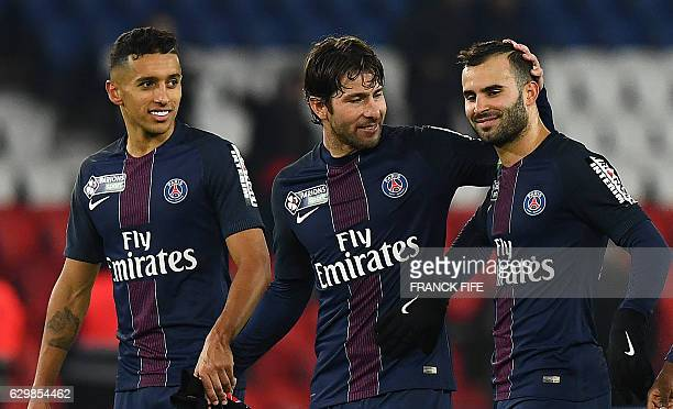 Paris SaintGermain's Brazilian defender Marquinhos Paris SaintGermain's Brazilian defender Maxwell and Paris SaintGermain's Spain's forward Rodriguez...