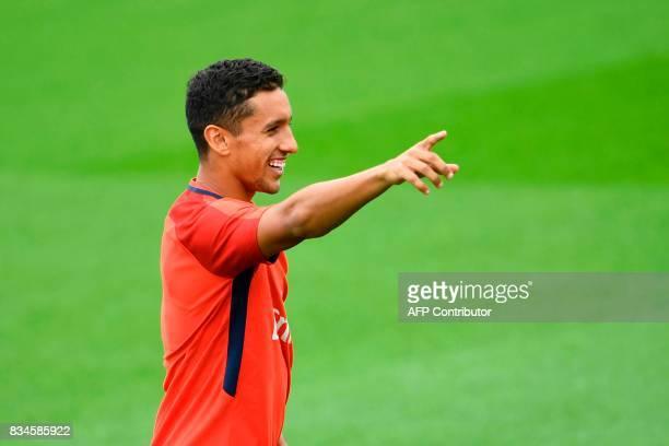 Paris SaintGermain's Brazilian defender Marquinhos takes part in a training session at the Camp des Loges in SaintGermainenLaye near Paris on August...