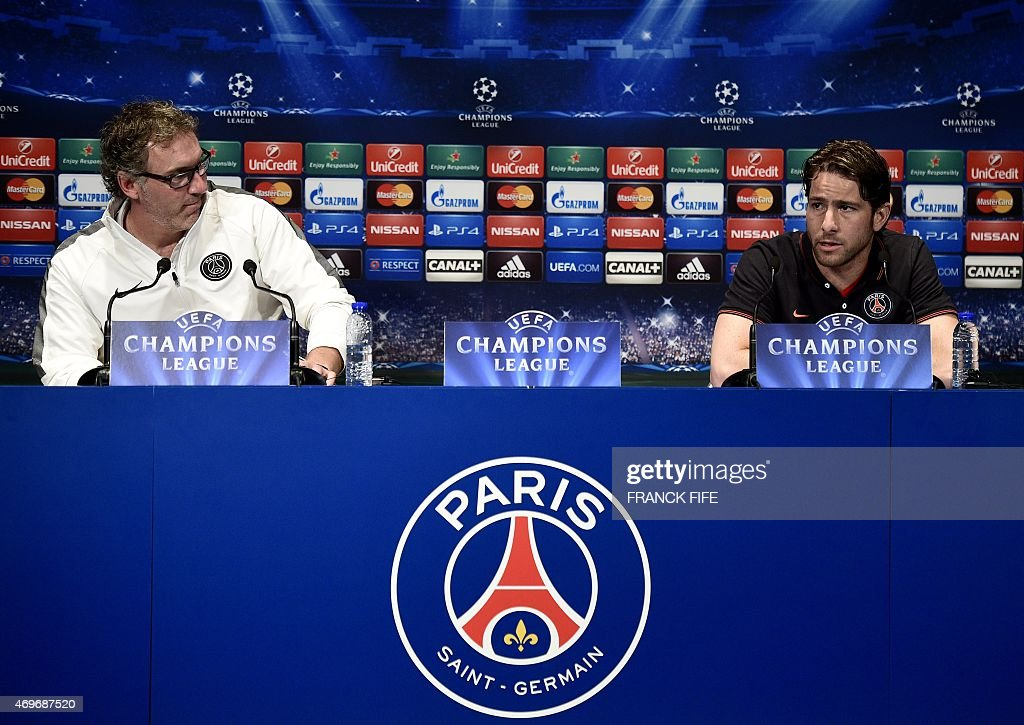 Paris Saint-Germain's Brazilian defender <a gi-track='captionPersonalityLinkClicked' href=/galleries/search?phrase=Maxwell+-+Brazilian+Soccer+Player&family=editorial&specificpeople=546154 ng-click='$event.stopPropagation()'>Maxwell</a> (R) and French head coach <a gi-track='captionPersonalityLinkClicked' href=/galleries/search?phrase=Laurent+Blanc&family=editorial&specificpeople=211209 ng-click='$event.stopPropagation()'>Laurent Blanc</a> give a press conference on the eve of the team's Champions League quarter final first leg football match, on April 14, 2015 at the Parc des Princes stadium in Paris.