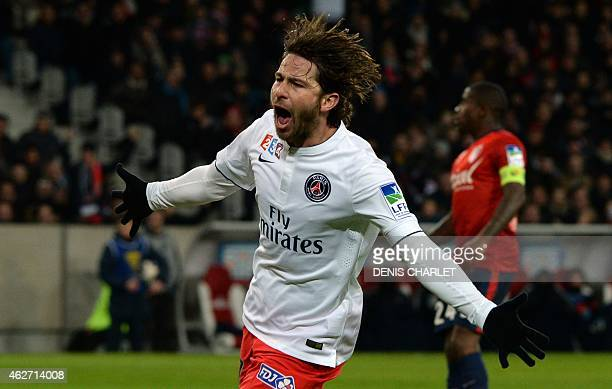 Paris SaintGermain's Brazilian defender Maxwell celebrates after scoring a goal during the French League Cup football match Lille vs PSG on February...