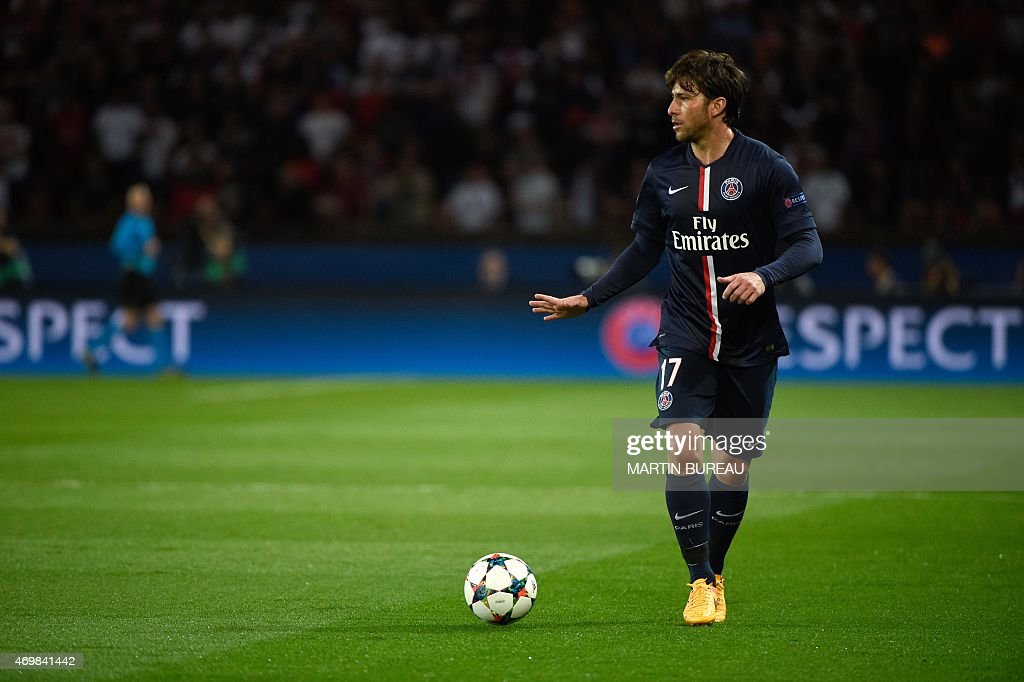 Paris Saint-Germain's Brazilian defender <a gi-track='captionPersonalityLinkClicked' href=/galleries/search?phrase=Maxwell+-+Brazilian+Soccer+Player&family=editorial&specificpeople=546154 ng-click='$event.stopPropagation()'>Maxwell</a> controls the ball during the UEFA Champions league quarter-final first leg football match PSG vs FC Barcelona at the Parc des Princes stadium in Paris on April 15, 2015.