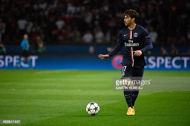 Paris SaintGermain's Brazilian defender Maxwell controls the ball during the UEFA Champions league quarterfinal first leg football match PSG vs FC...