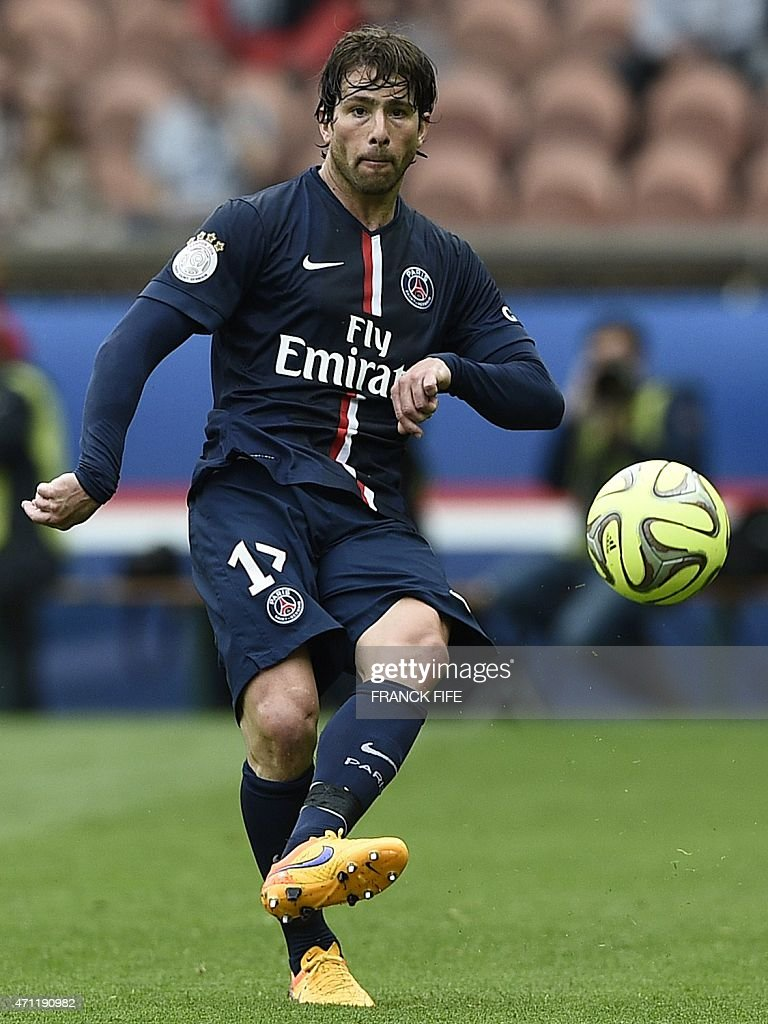Paris Saint-Germain's Brazilian defender <a gi-track='captionPersonalityLinkClicked' href=/galleries/search?phrase=Maxwell+-+Brazilian+Soccer+Player&family=editorial&specificpeople=546154 ng-click='$event.stopPropagation()'>Maxwell</a> controls the ball during the French L1 football match between Paris Saint-Germain and Lille on April 25, 2015 at the Parc des Princes in Paris. Paris won 6-1.