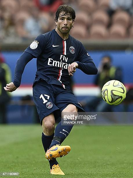 Paris SaintGermain's Brazilian defender Maxwell controls the ball during the French L1 football match between Paris SaintGermain and Lille on April...