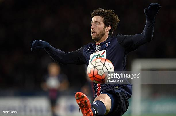 Paris SaintGermain's Brazilian defender Maxwell controls the ball during the French Cup football match between Paris SaintGermain vs Lyon on February...