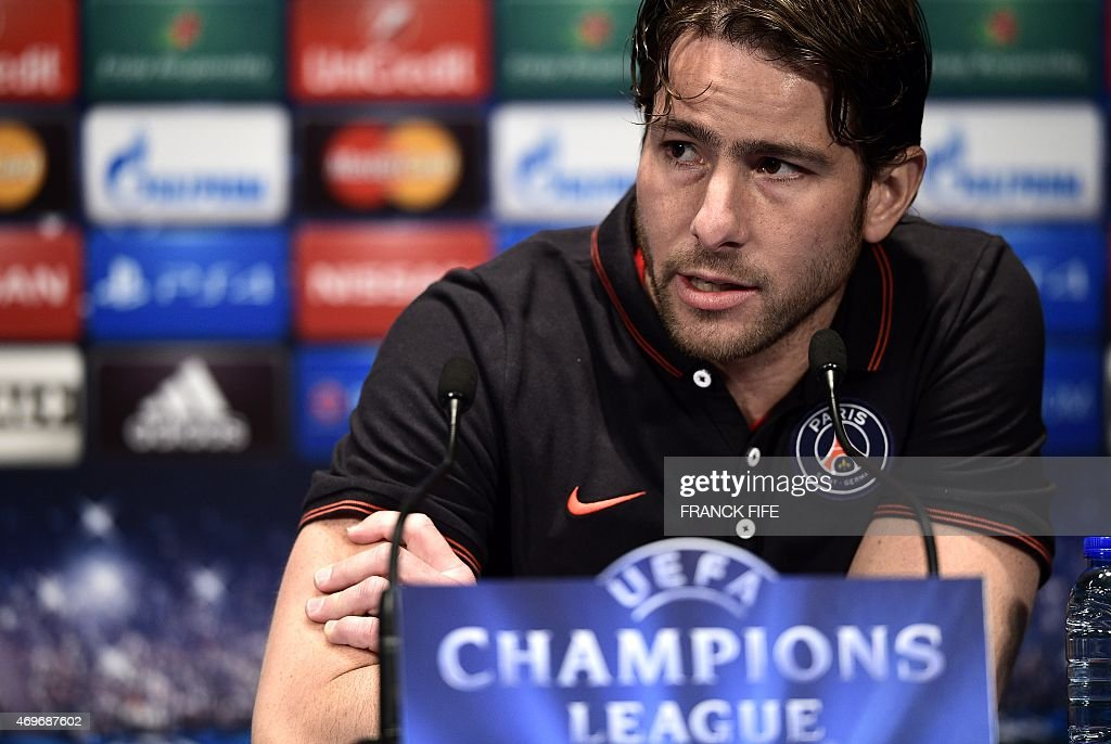 Paris Saint-Germain's Brazilian defender <a gi-track='captionPersonalityLinkClicked' href=/galleries/search?phrase=Maxwell+-+Brazilian+Soccer+Player&family=editorial&specificpeople=546154 ng-click='$event.stopPropagation()'>Maxwell</a> gives a press conference on the eve of the team's Champions League quarter final first leg football match, on April 14, 2015 at the Parc des Princes stadium in Paris.