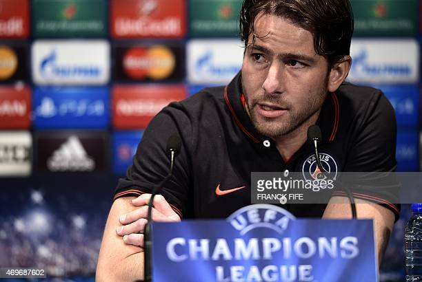 Paris SaintGermain's Brazilian defender Maxwell gives a press conference on the eve of the team's Champions League quarter final first leg football...