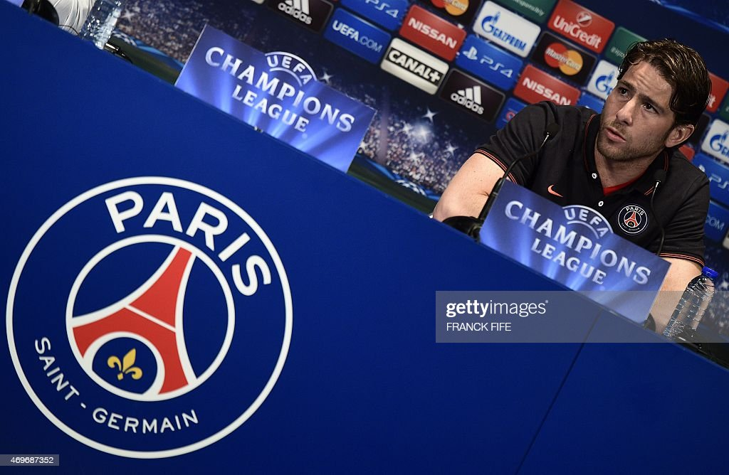Paris Saint-Germain's Brazilian defender <a gi-track='captionPersonalityLinkClicked' href=/galleries/search?phrase=Maxwell+-+Brazilian+Soccer+Player&family=editorial&specificpeople=546154 ng-click='$event.stopPropagation()'>Maxwell</a> speaks during a press conference at the Parc des Princes stadium in Paris on April 14, 2015, on the eve of an UEFA Champions League quarter final first leg football match against Barcelone.