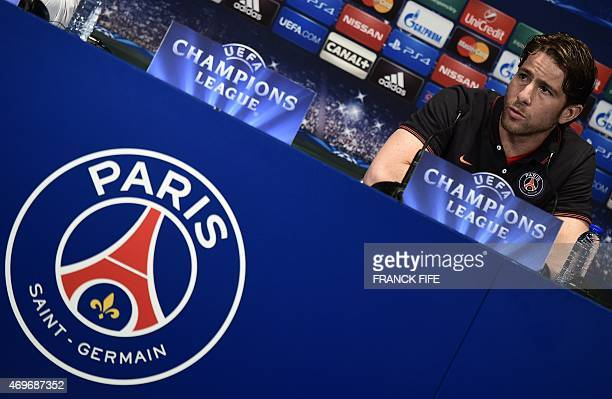Paris SaintGermain's Brazilian defender Maxwell speaks during a press conference at the Parc des Princes stadium in Paris on April 14 on the eve of...