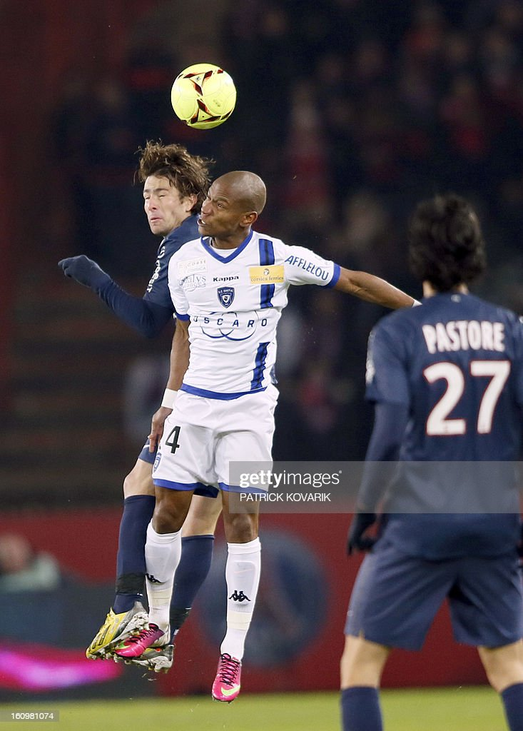 Paris Saint-Germain's Brazilian defender Maxwell (L) vies with Bastia's Claudio Bauvue during the French L1 football match Paris Saint-Germain (PSG) vs Bastia, on February 8, 2013 at the Parc des Princes stadium in Paris.