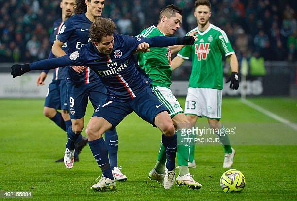 Paris SaintGermain's Brazilian defender Maxwell vies with St Etienne's French midfielder Romain Hamouma during the French L1 football match...