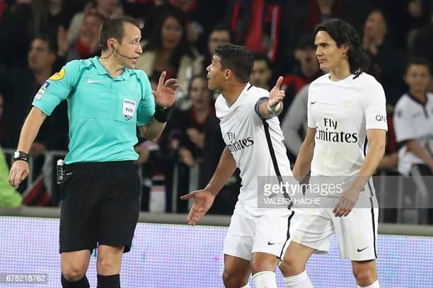 Paris SaintGermain's Brazilian defender Thiago Silva reacts during the French L1 football match Nice vs Paris Saint Germain on April 30 2017 at the...