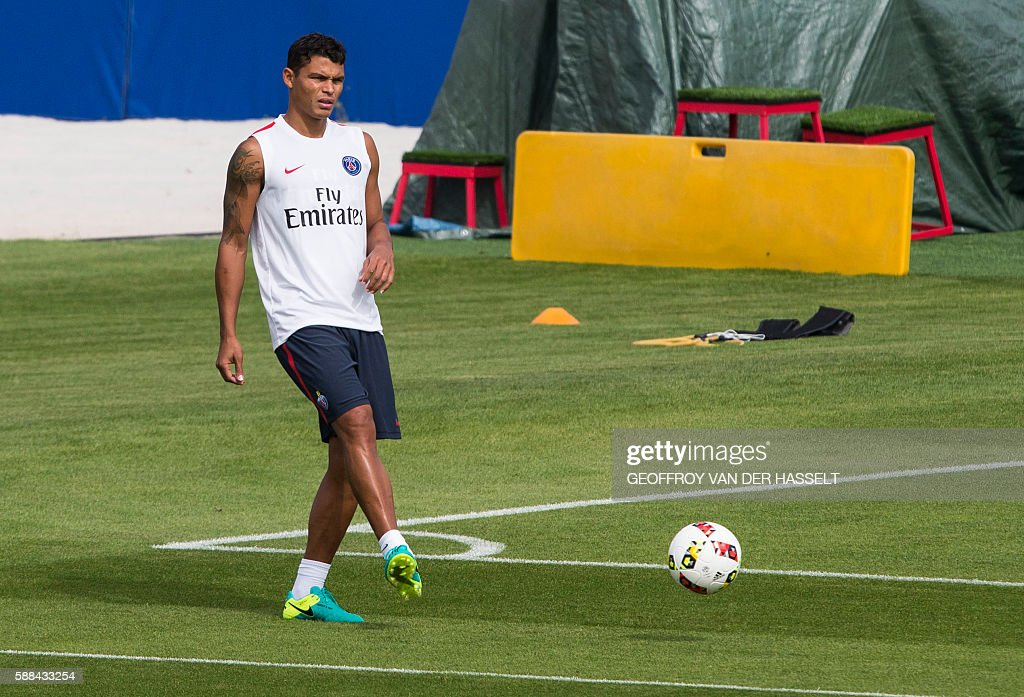 Paris SaintGermain's Brazilian defender Thiago Silva takes part in a training session at the Camp des Loges training centre in SaintGermainenLaye...