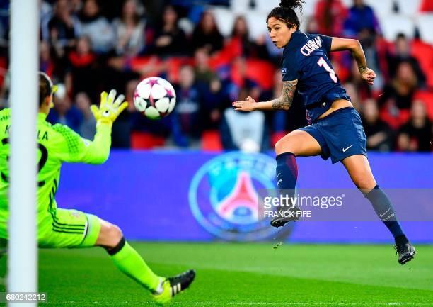Paris SaintGermain's Brazilian forward Cristiane Rozeira scores a goal during the UEFA Women's Champions League quarterfinal second leg football...