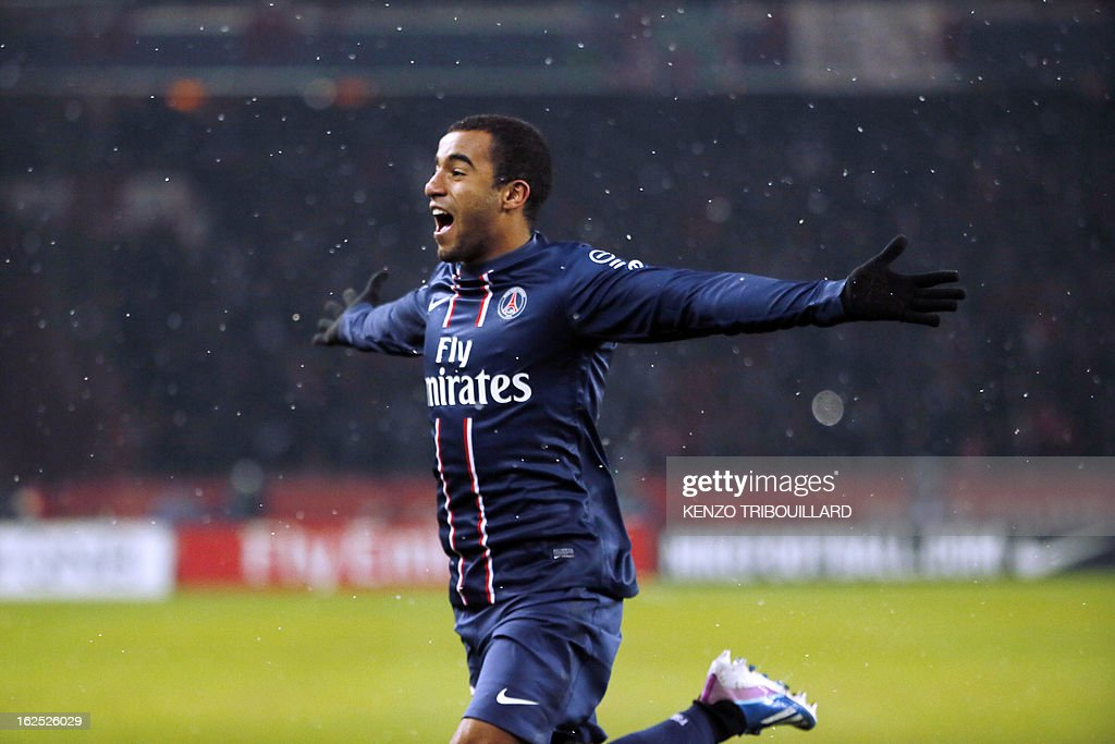 Paris Saint-Germain's Brazilian forward Lucas Moura celebrates after scoring during the French L1 football match Paris Saint-Germain (PSG) vs Olympique de Marseille (OM) on February 24, 2013 at the Parc des Princes stadium in Paris.