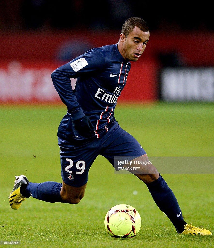 Paris Saint-Germain's Brazilian forward Lucas Moura controls the ball during the French L1 football match Paris Saint-Germain (PSG) vs Bastia, on February 8, 2013 at the Parc des Princes stadium in Paris.