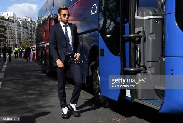Paris SaintGermain's Brazilian forward Neymar arrives for the French Ligue 1 football match between Paris SaintGermain and Bordeaux at the Parc des...