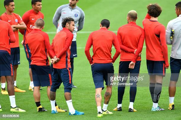 Paris SaintGermain's Brazilian forward Neymar attends a training session at the Camp des Loges in SaintGermainenLaye near Paris on August 18 2017 /...