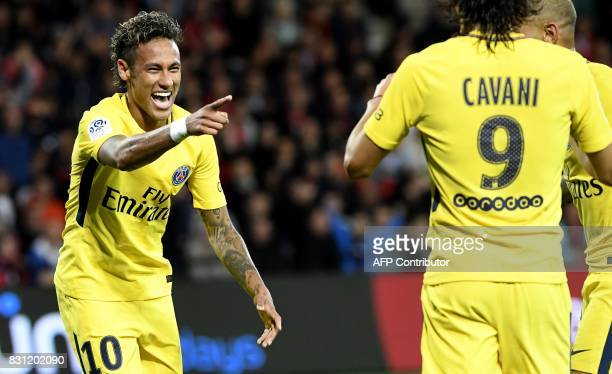 TOPSHOT Paris SaintGermain's Brazilian forward Neymar celebrates after scoring a goal during the French L1 football match Guingamp versus Paris...