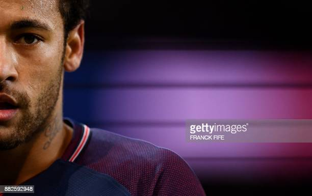 TOPSHOT Paris SaintGermain's Brazilian forward Neymar is pictured the French L1 football match between Paris SaintGermain and Troyes at the Parc des...