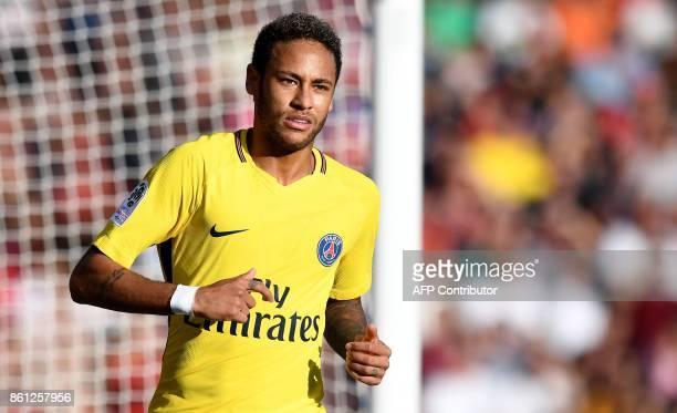 Paris SaintGermain's Brazilian forward Neymar reacts during the French L1 football match between Dijon and Paris SaintGermain at the Gaston Gerard...
