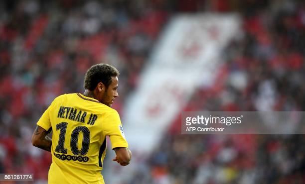 TOPSHOT Paris SaintGermain's Brazilian forward Neymar reacts during the French L1 football match between Dijon and Paris SaintGermain at the Gaston...
