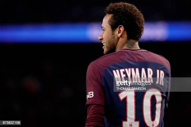 Paris SaintGermain's Brazilian forward Neymar reacts during the French L1 football match between Paris SaintGermain and Nantes at the Parc des...