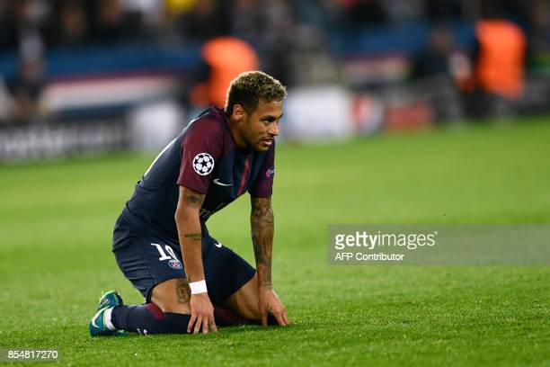 Paris SaintGermain's Brazilian forward Neymar reacts during the UEFA Champions League football match between Paris SaintGermain and Bayern Munich on...