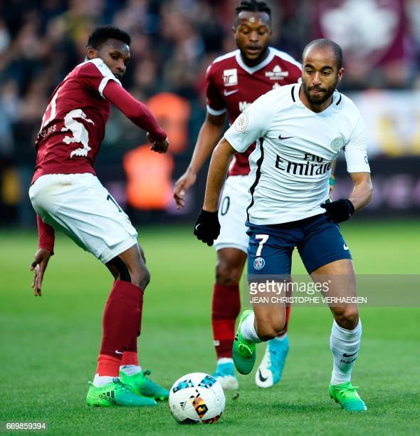 Paris SaintGermain's Brazilian midfielder Lucas drives the ball during the French L1 football match between Metz and Paris on April 18 2017 at Saint...