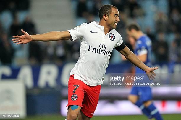 Paris SaintGermain's Brazilian midfielder Lucas Moura celebrates after scoring a goal during the French L1 football match between Bastia and Paris...