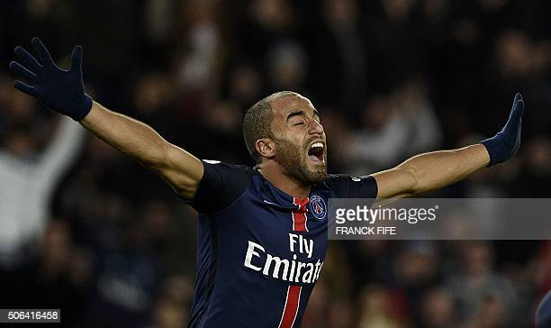 Paris SaintGermain's Brazilian midfielder Lucas Moura celebrates after scoring a goal during the French L1 football match between Paris SaintGermain...