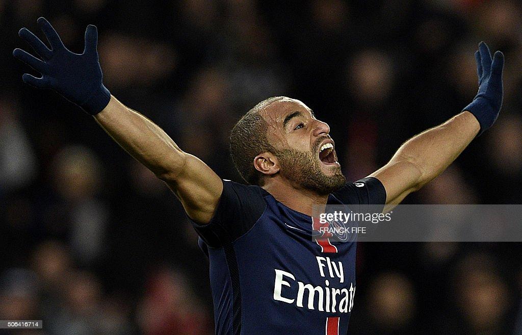 TOPSHOT Paris SaintGermain's Brazilian midfielder Lucas Moura celebrates after scoring a goal during the French L1 football match between Paris...