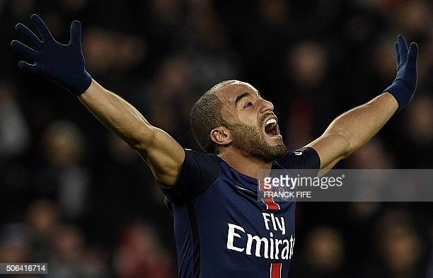 TOPSHOT Paris SaintGermain's Brazilian midfielder Lucas Moura celebrates after scoring a goal during the French L1 football match between Paris...