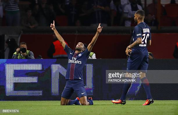 TOPSHOT Paris SaintGermain's Brazilian midfielder Lucas Moura celebrates after scoring a goal during the French L1 football match PSG vs Metz on...
