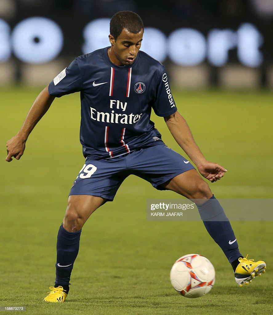 Paris Saint-Germain's (PSG) Brazilian midfielder Lucas Moura controls the ball during a friendly football match against Qatar's Lekhwiya in Doha on January 2, 2013. PSG won 5-1.