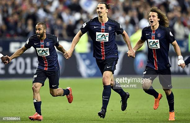 Paris SaintGermain's Brazilian midfielder Lucas Moura Paris SaintGermain's Swedish forward Zlatan Ibrahimovic and Paris SaintGermain's Brazilian...